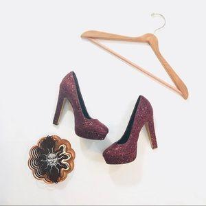 Passarello ALDO red glitter platform heels 7.5